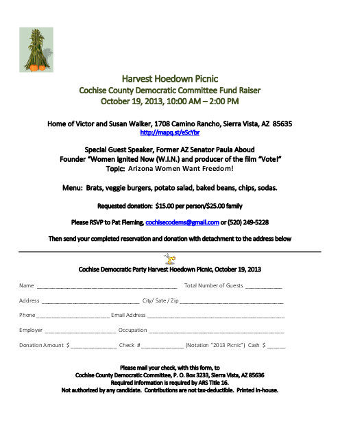 Cochise County Democratic Party Harvest Hoedown Picnic