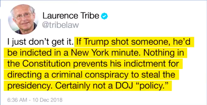 Laurence Tribe on indictment